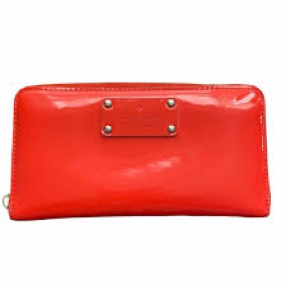 Kate Spade Patent Leather Coral Leather Zip Wallet